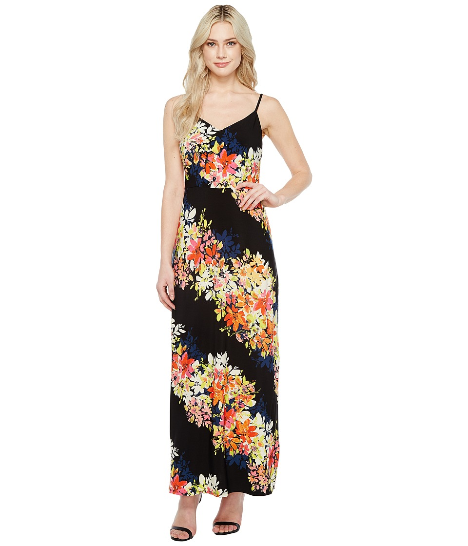 London Times - Bloom Stripe Maxi (Black Multi) Women's Dress