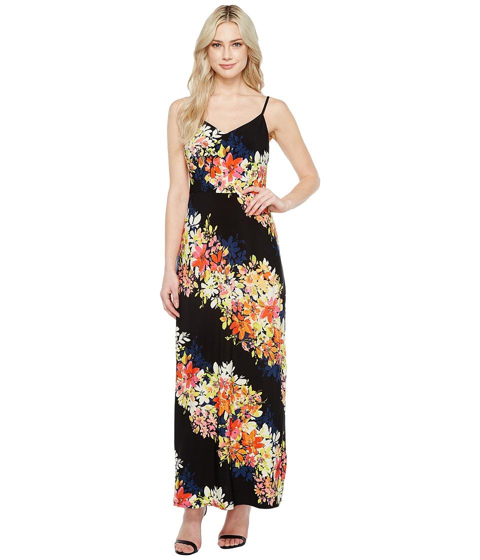 London Times - Bloom Stripe Maxi (Black Multi) Women's Dress
