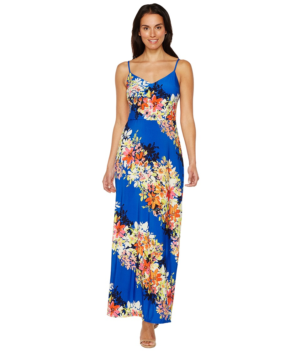 London Times - Bloom Stripe Maxi (Blue Multi) Women's Dress