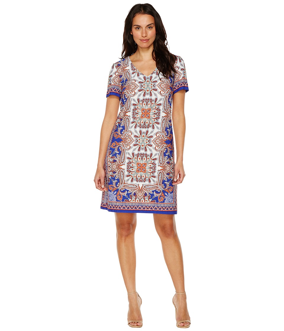 London Times - Block Stripe Paisley Shift (Blue/Orange) Women's Dress