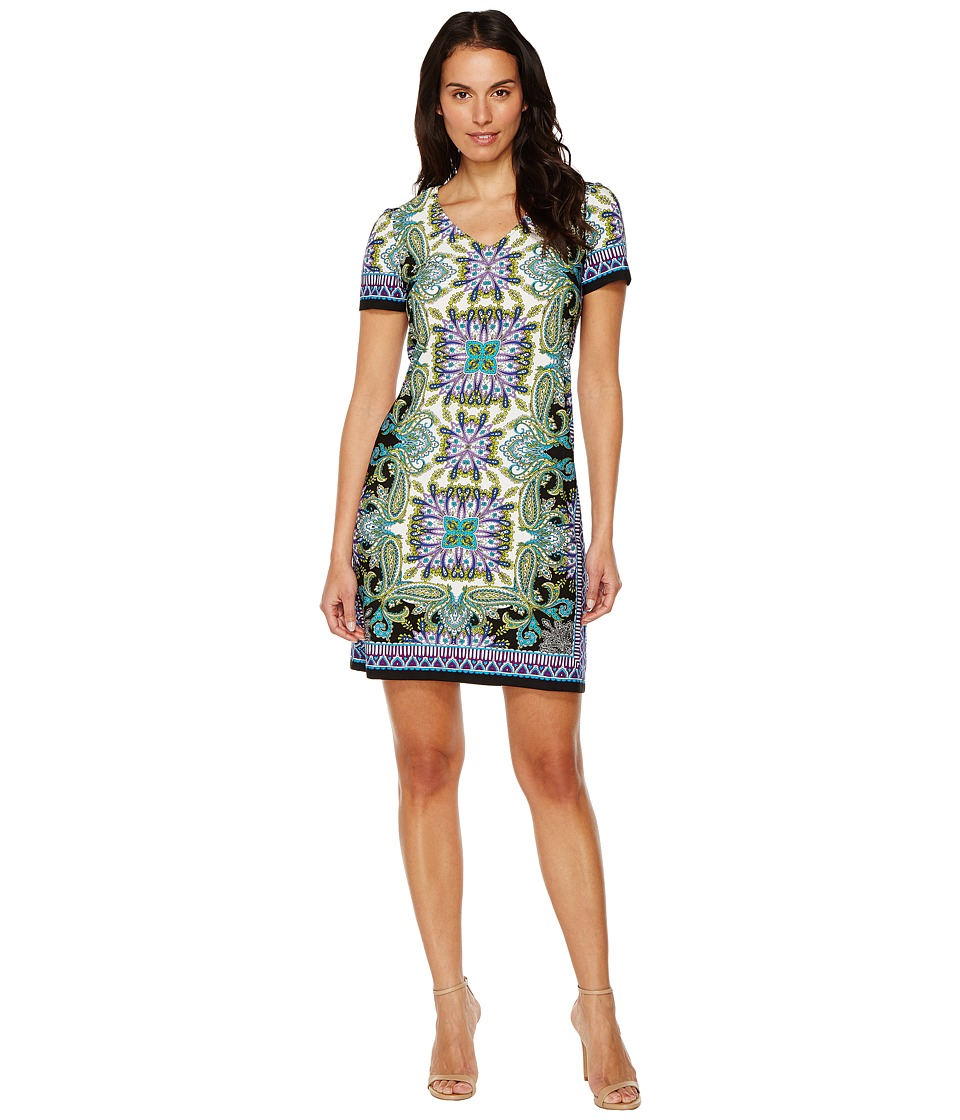 London Times - Block Stripe Paisley Shift (Black/Turquoise) Women's Dress