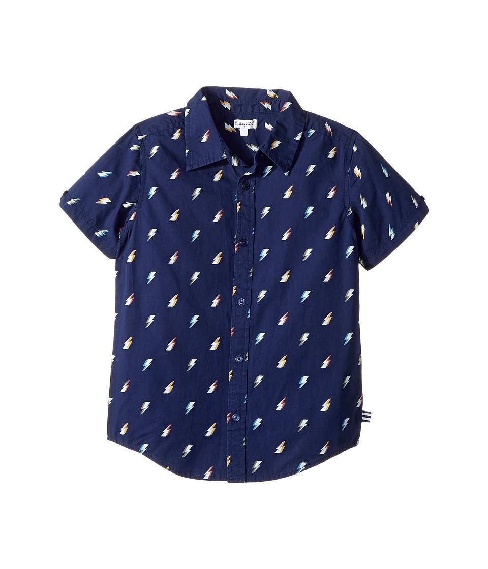 Splendid Littles - All Over Printed Lightning Bolts Woven Shirt (Little Kids/Big Kids) (Navy) Boy's Clothing
