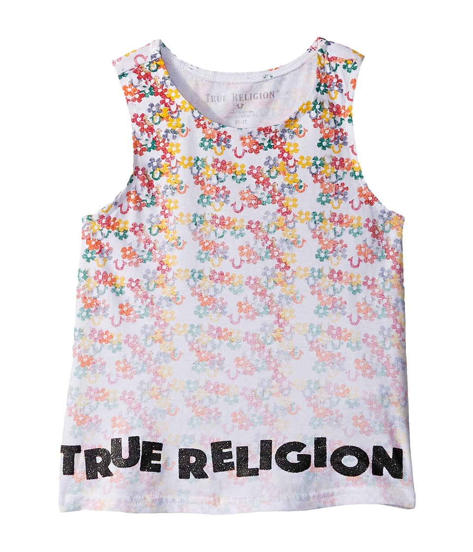True Religion Kids - Sponge Flower Tank Top (Toddler/Little Kids) (White) Girl's Sleeveless