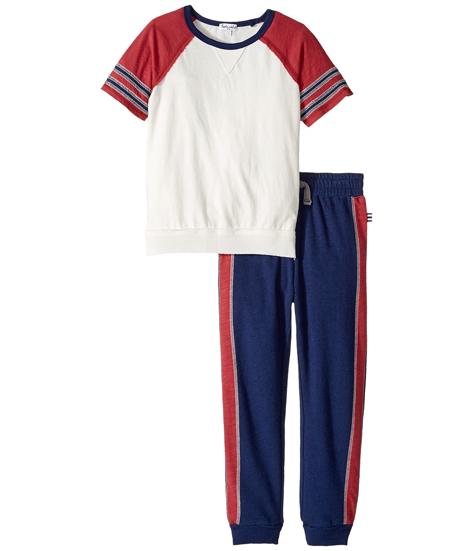 Splendid Littles - Raglan Tee and Pants Set (Little Kids/Big Kids) (Off-White) Boy's Active Sets