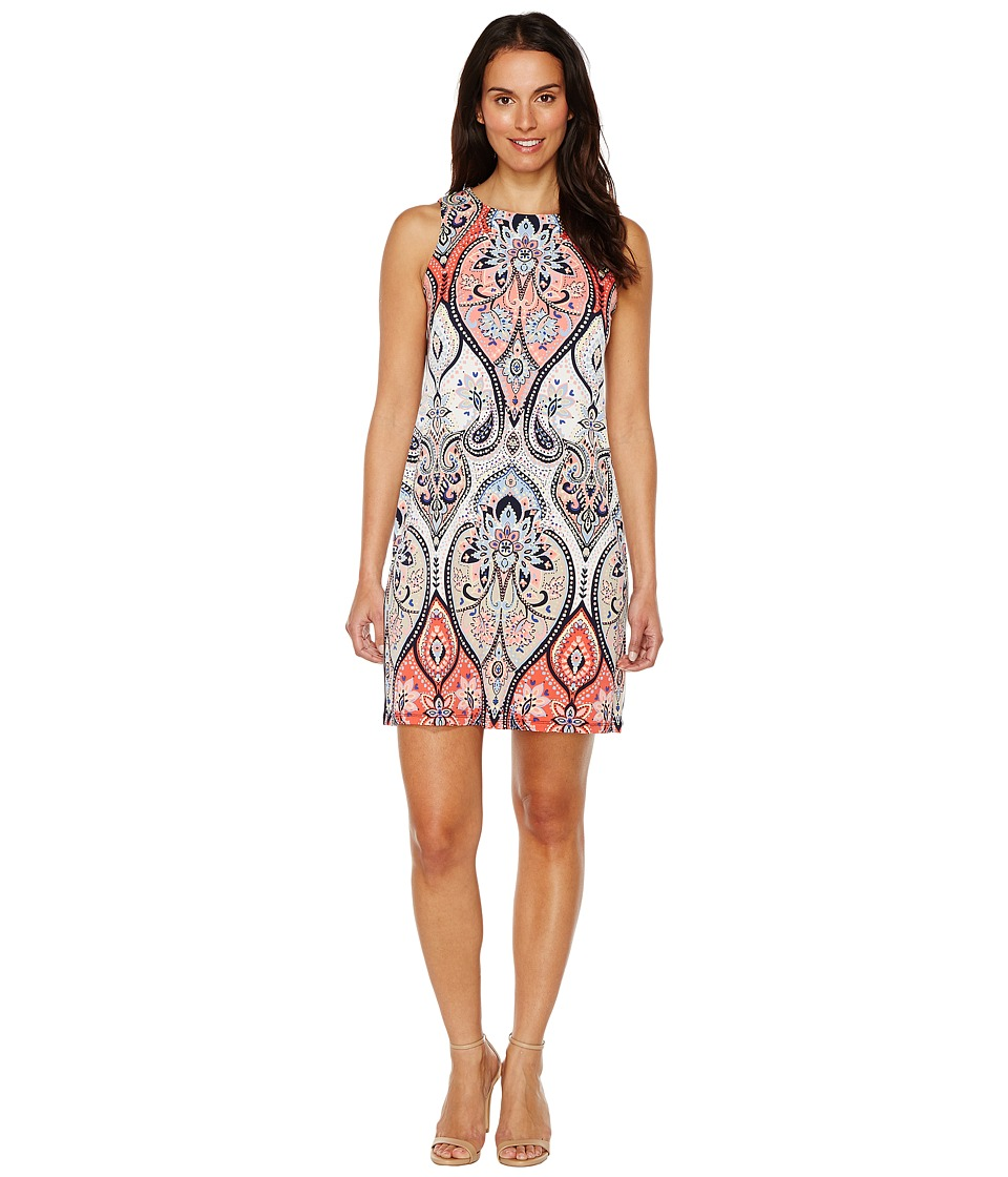 London Times - Star Paisley Sleeveless Shift (Coral Multi) Women's Dress