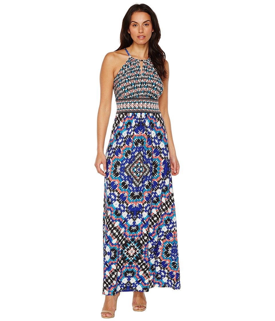 London Times - Ikat Mix Keyhole Halter Maxi (Blue Multi) Women's Dress