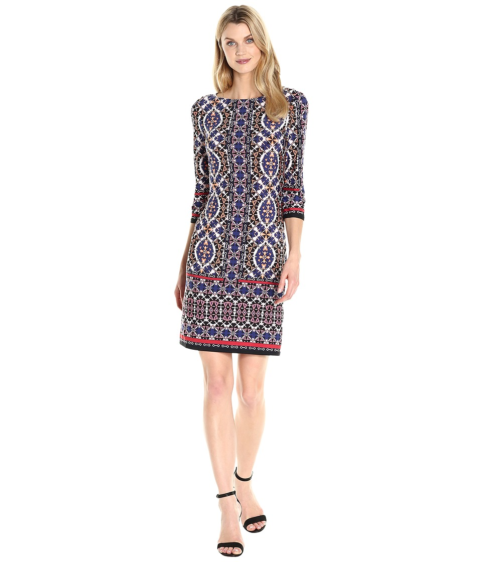 London Times - Ikat Tile 3/4 Sleeve Shift (Orange Multi) Women's Dress