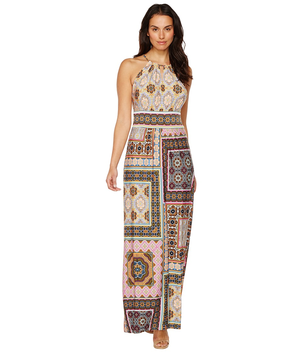 London Times - Tile Medley Keyhole Halter Maxi (Multi) Women's Dress