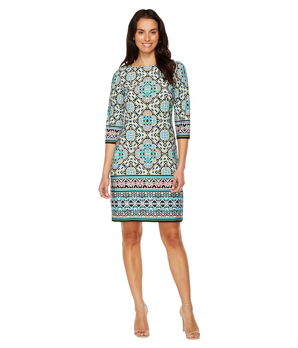 London Times - Maze Stripe Jersey Shift (Aqua) Women's Dress