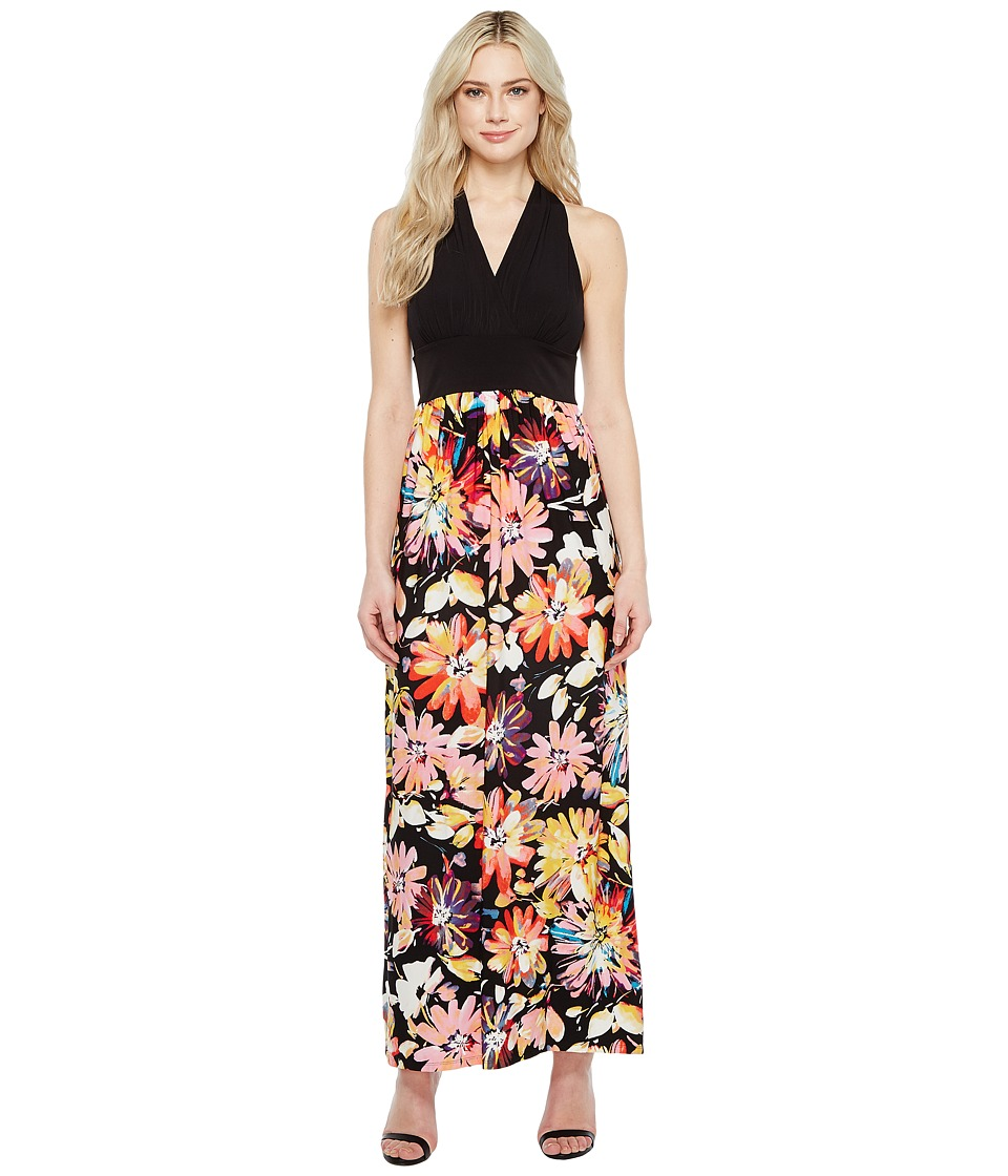 London Times Branch Flower Matte Jersey Maxi (Black/Pink) Women