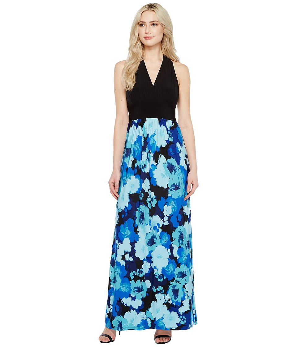London Times - Fleur Blur Halter Maxi (Black/Blue) Women's Dress