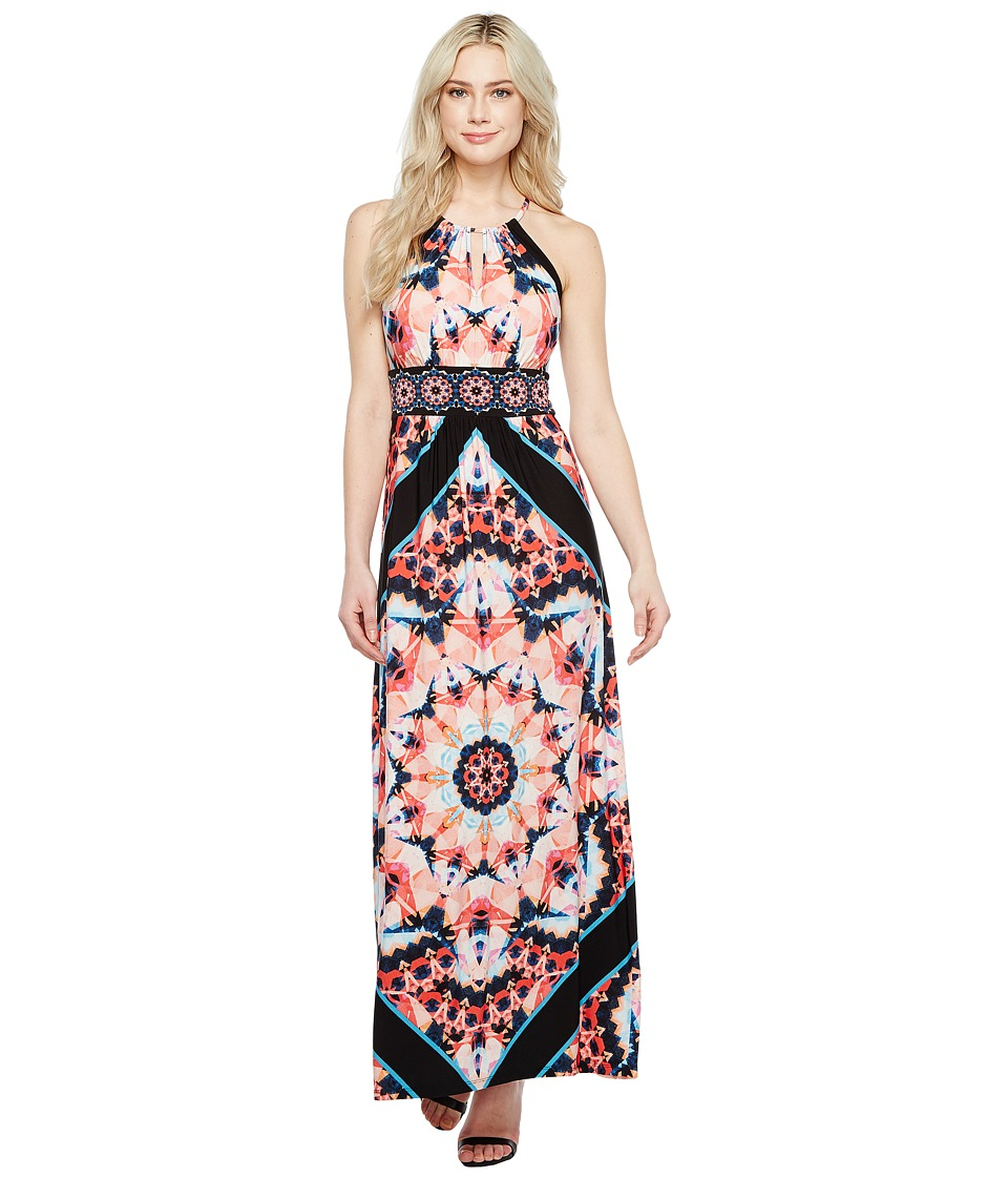 London Times - Techno Prism Halter Maxi (Black/Coral) Women's Dress