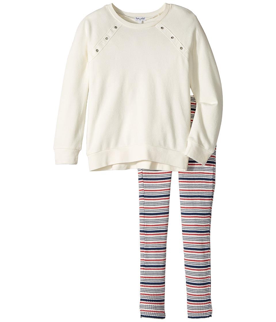Splendid Littles - Grommet Sweatshirt Set (Little Kids) (White) Girl's Active Sets