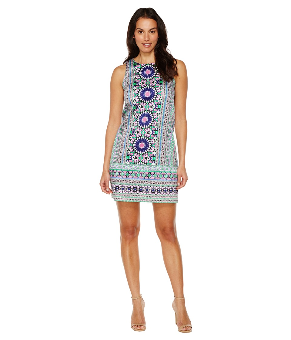 London Times - Cotton Sateen Shift Dress (Purple/Multi) Women's Dress