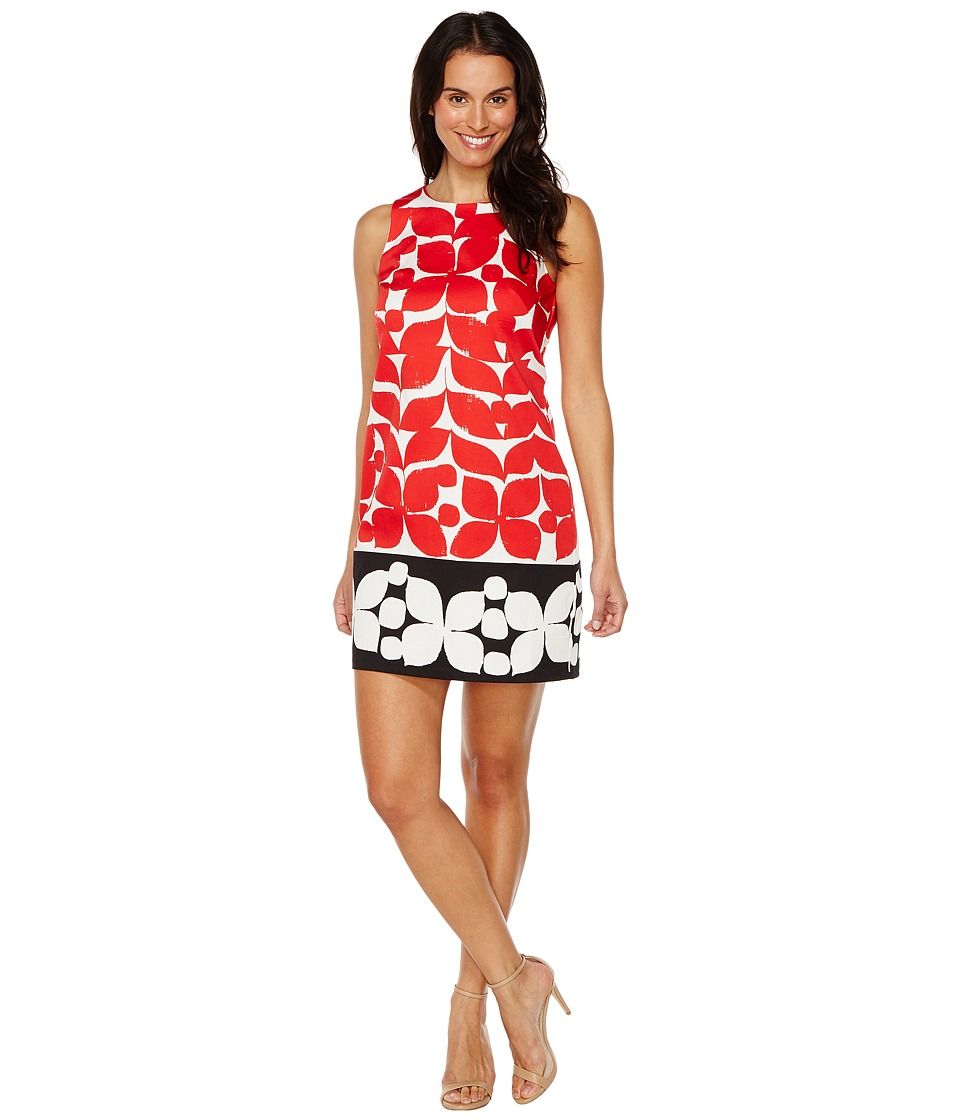 London Times - Woodcut Petals Sleeveless Shift (Red/Black) Women's Dress