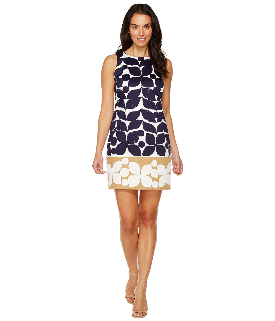 London Times - Woodcut Petals Sleeveless Shift (Navy/Taupe) Women's Dress