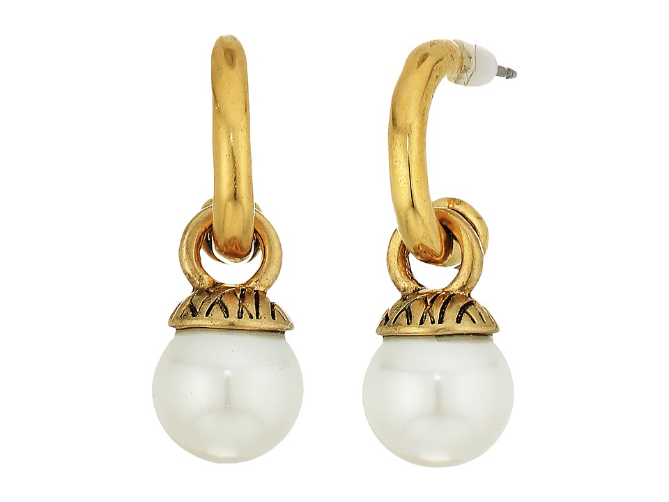 The Sak - 8mm Pearl Hoop Drop Earrings (White/Gold) Earring
