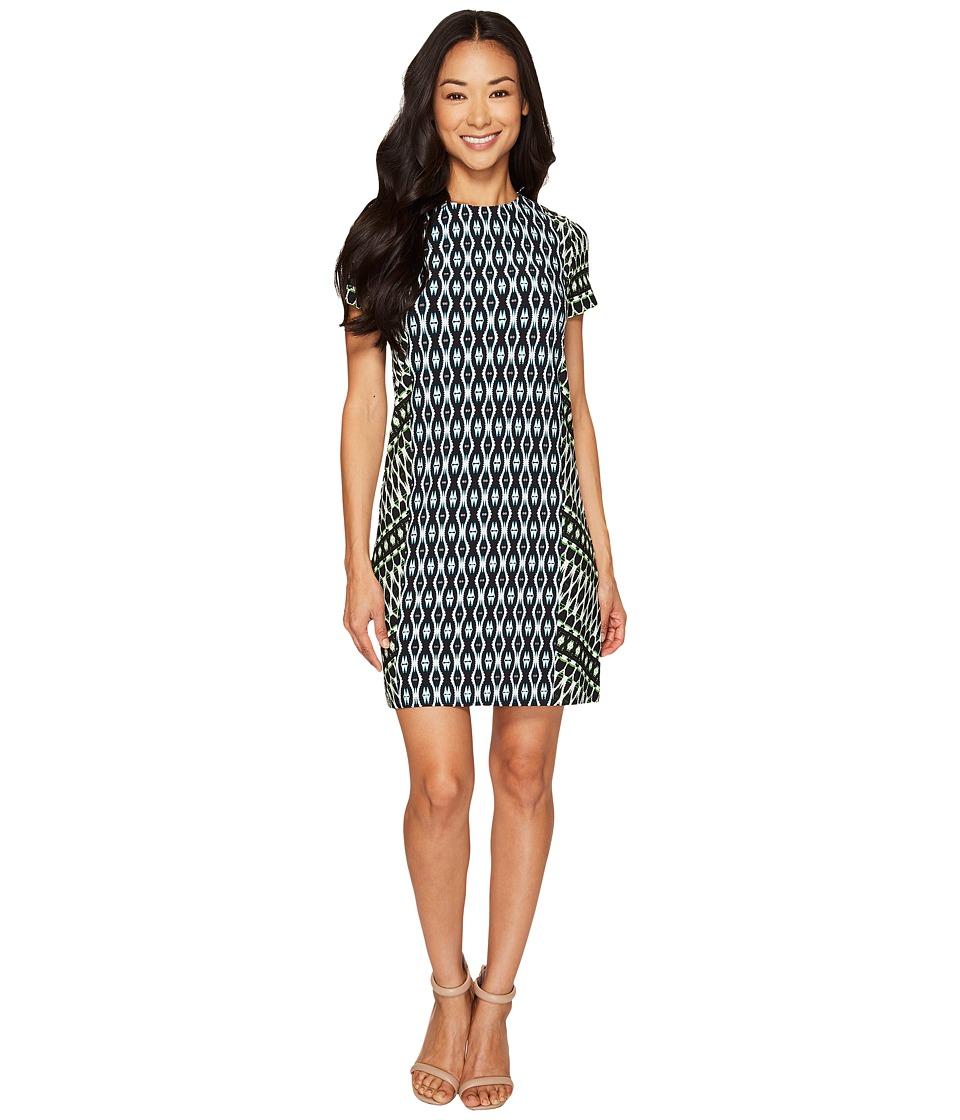 London Times - Petite Twin Global Short Sleeve Shift (Turquoise Green) Women's Dress