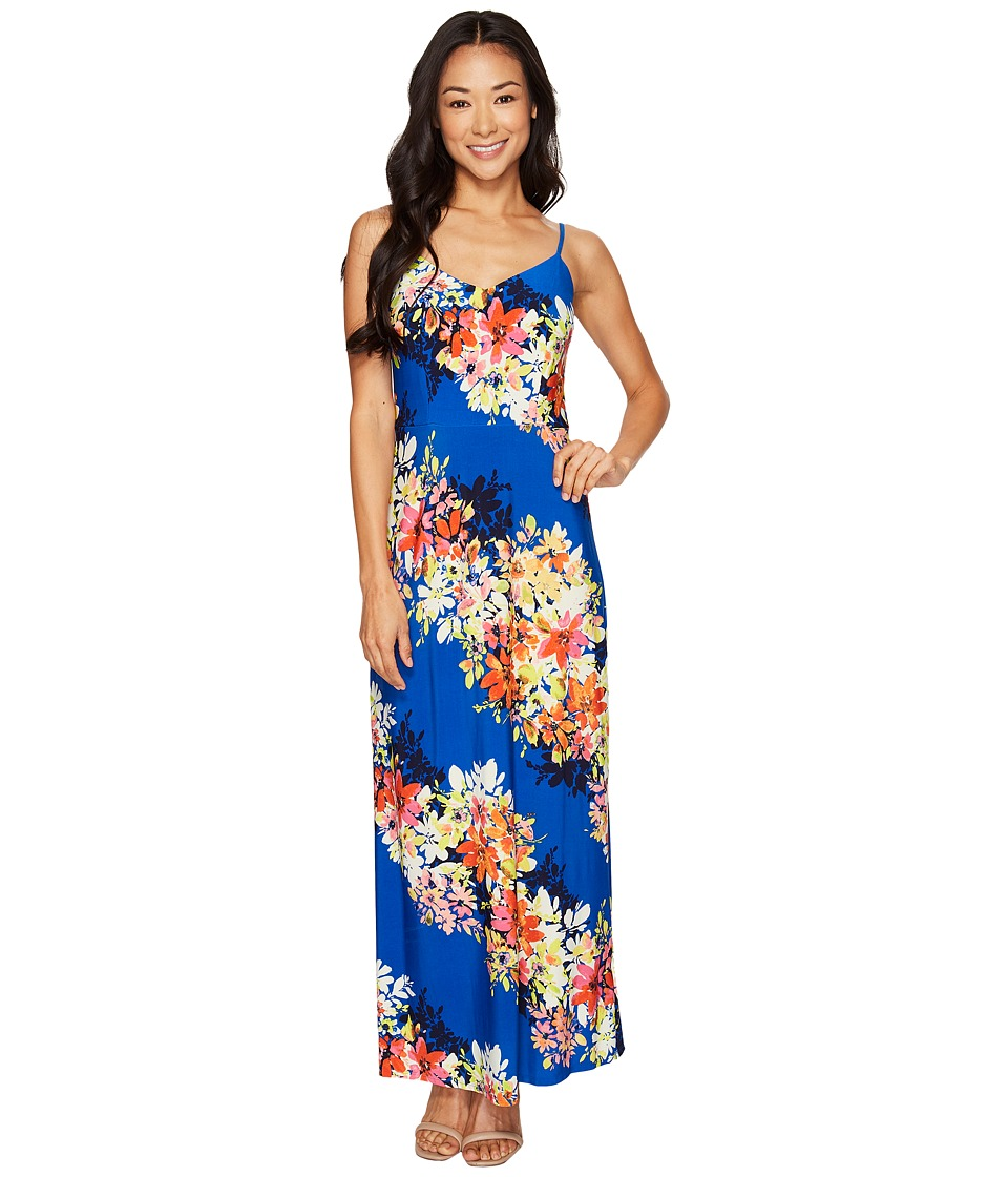 London Times Petite Bloom Stripe Maxi (Blue Multi) Women