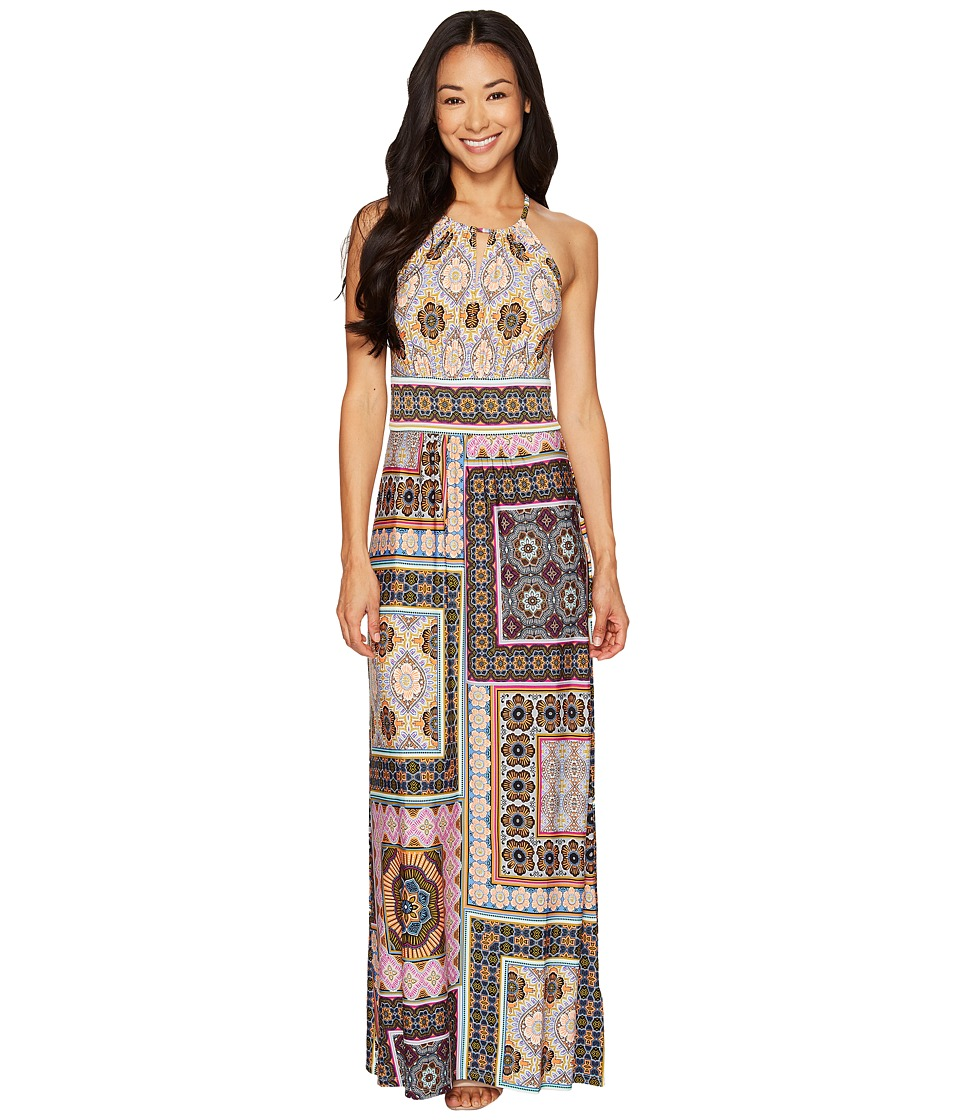 London Times - Petite Tile Medley Keyhole Halter Maxi (Multi) Women's Dress