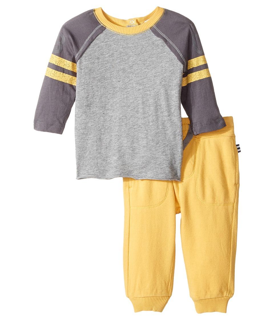 Splendid Littles - Long Sleeve Football Tee and Pants Set (Infant) (Charcoal Grey Heather) Boy's Active Sets