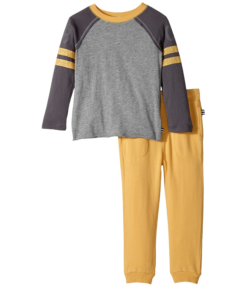 Splendid Littles - Long Sleeve Football Tee and Pants Set (Toddler) (Charcoal Grey Heather) Boy's Active Sets