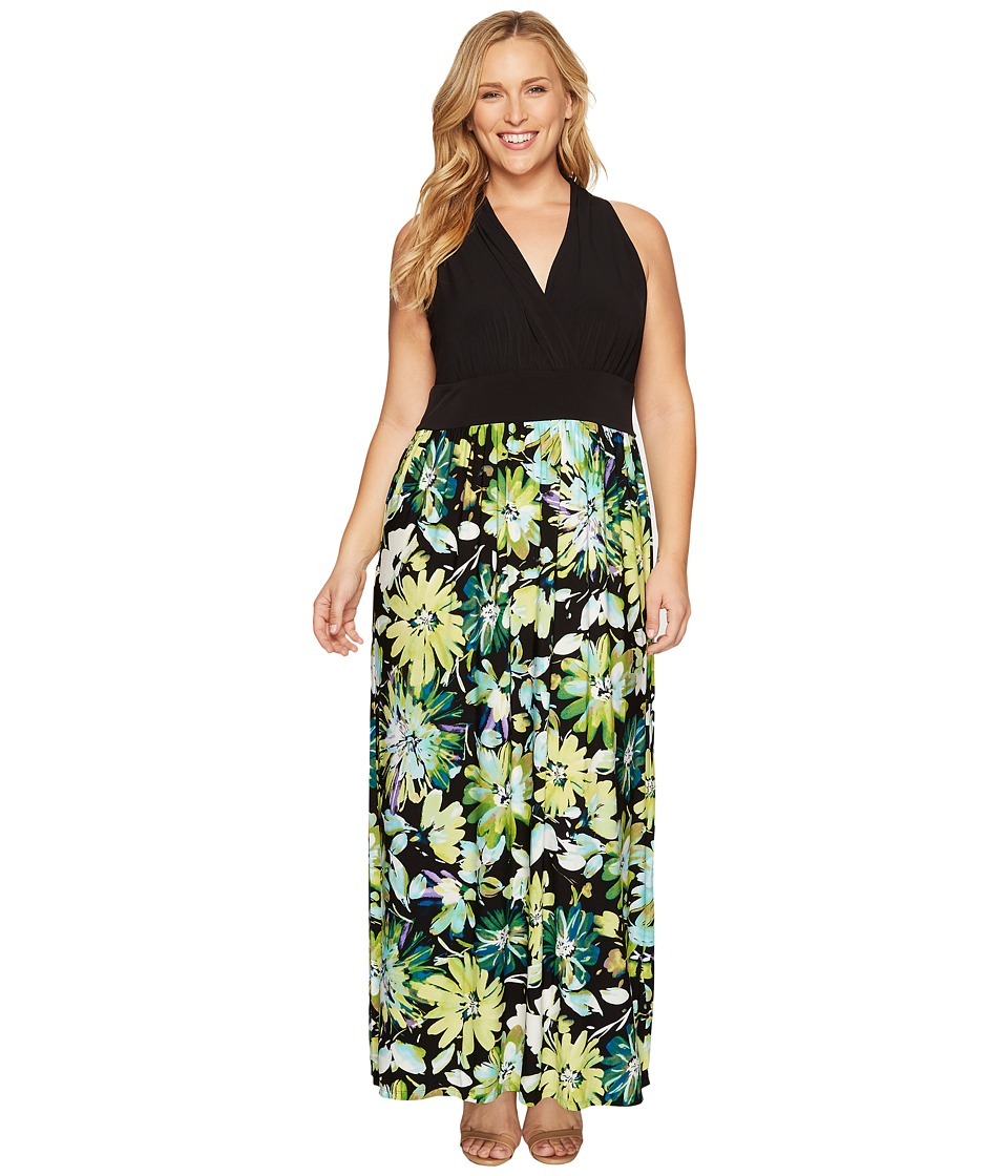 London Times - Plus Size Branch Flower Matte Jersey Maxi (Black/Green) Women's Dress