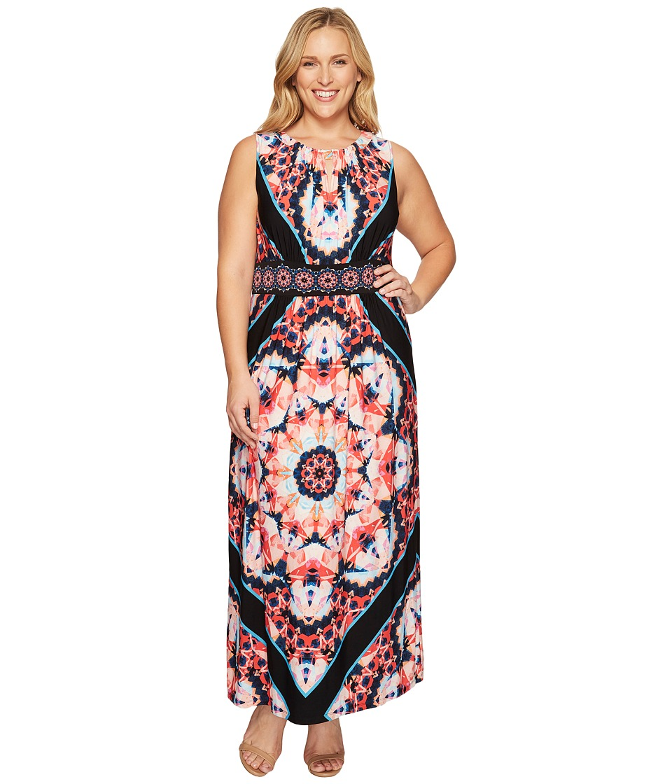 London Times - Plus Size Techno Prism Halter Maxi (Black/Coral) Women's Dress