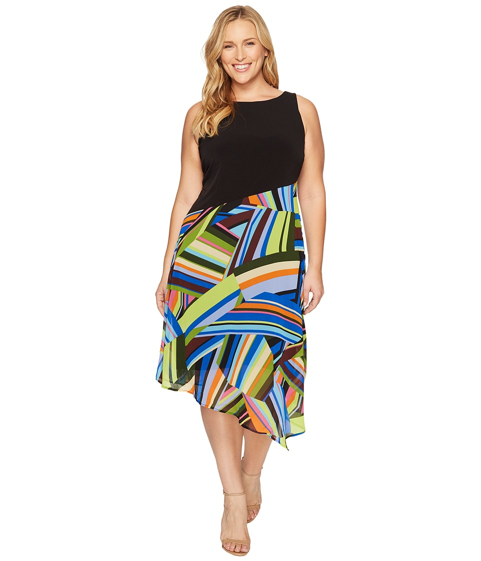 London Times - Plus Size Matte Jersey Printed Chiffon Asymmetric Hem (Black/Multi) Women's Dress