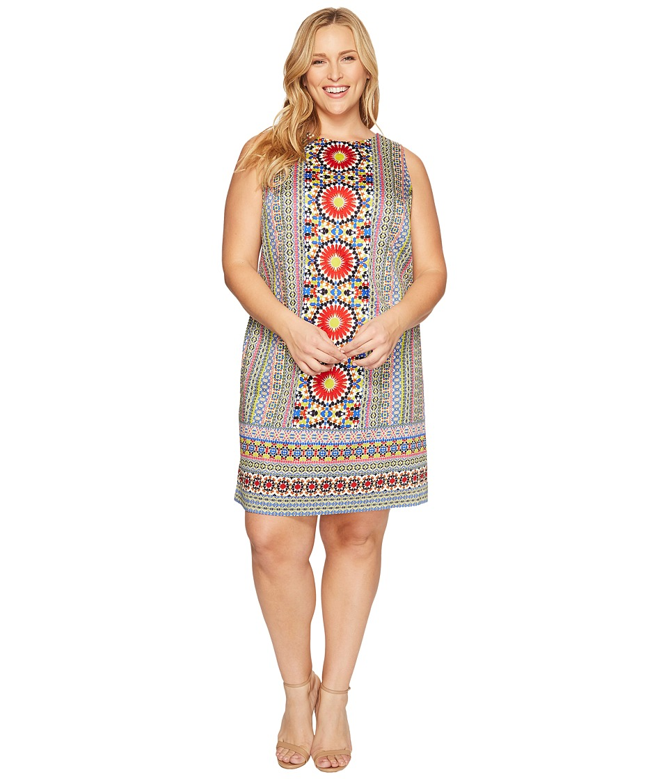 London Times - Plus Size Cotton Sateen Shift Dress (Red Multi) Women's Dress