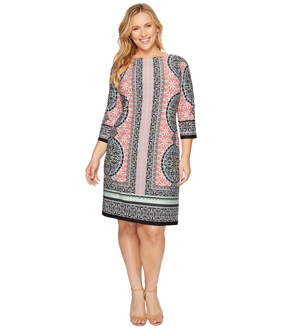 London Times - Plus Size Morrocan Medallion 3/4 Sleeve Shift (Black/Red) Women's Dress
