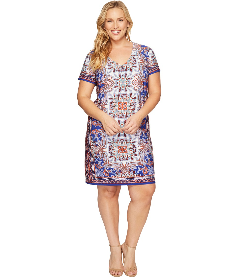 London Times - Plus Size Block Stripe Paisley Shift (Blue/Orange) Women's Dress