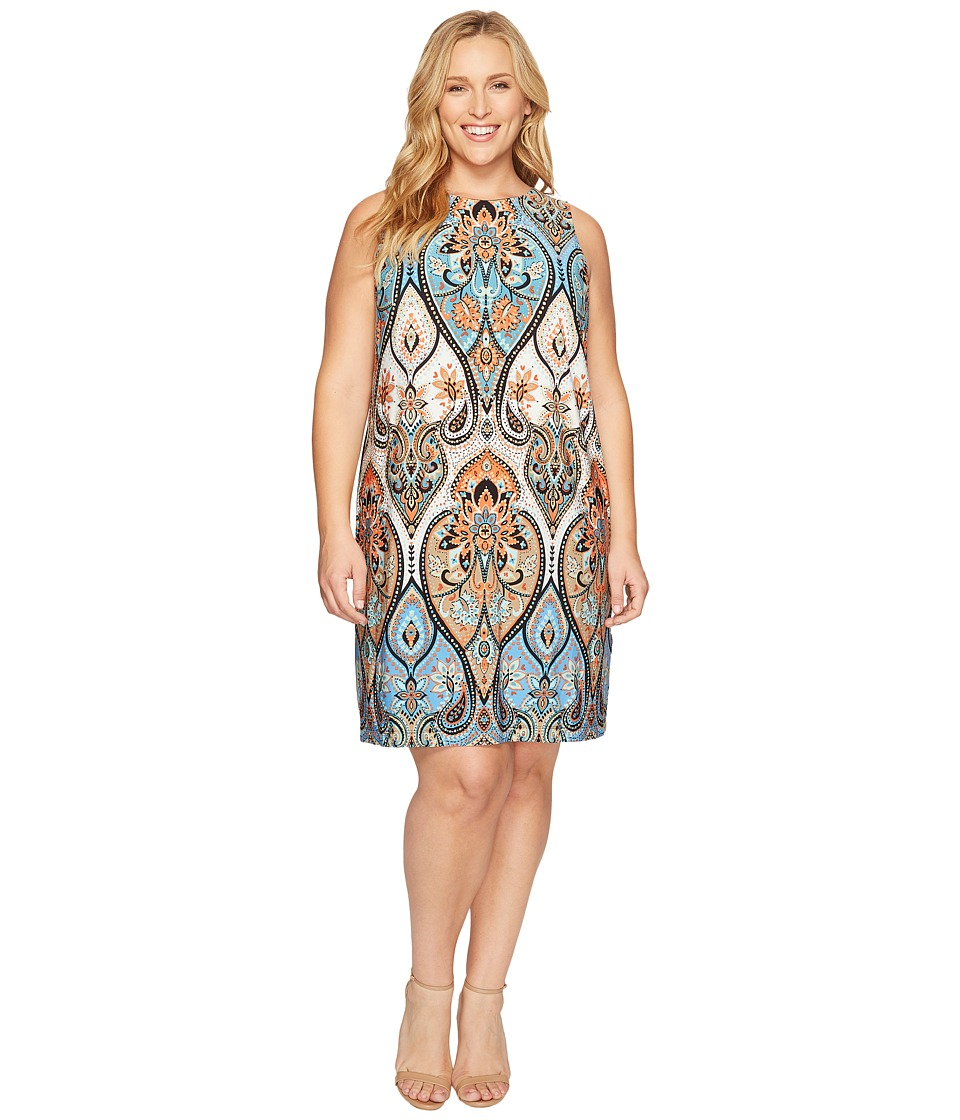 London Times - Plus Size Star Paisley Sleeveless Shift (Blue Multi) Women's Dress