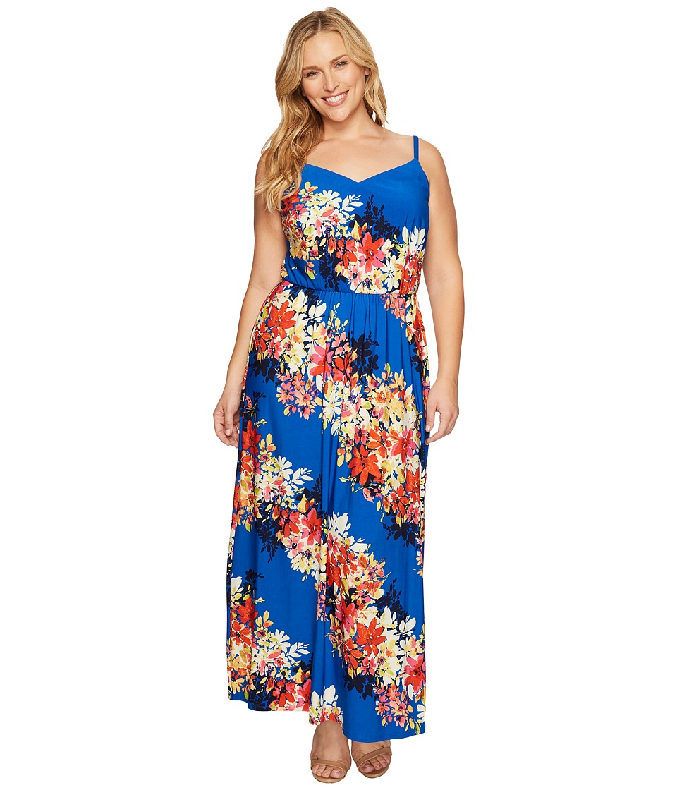 London Times - Plus Size Bloom Stripe Maxi (Blue Multi) Women's Dress