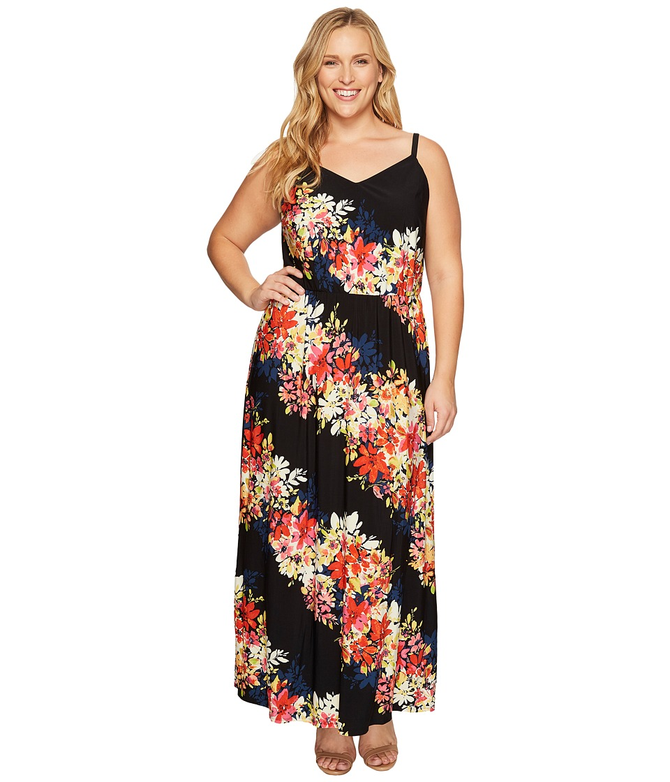 London Times - Plus Size Bloom Stripe Maxi (Black Multi) Women's Dress