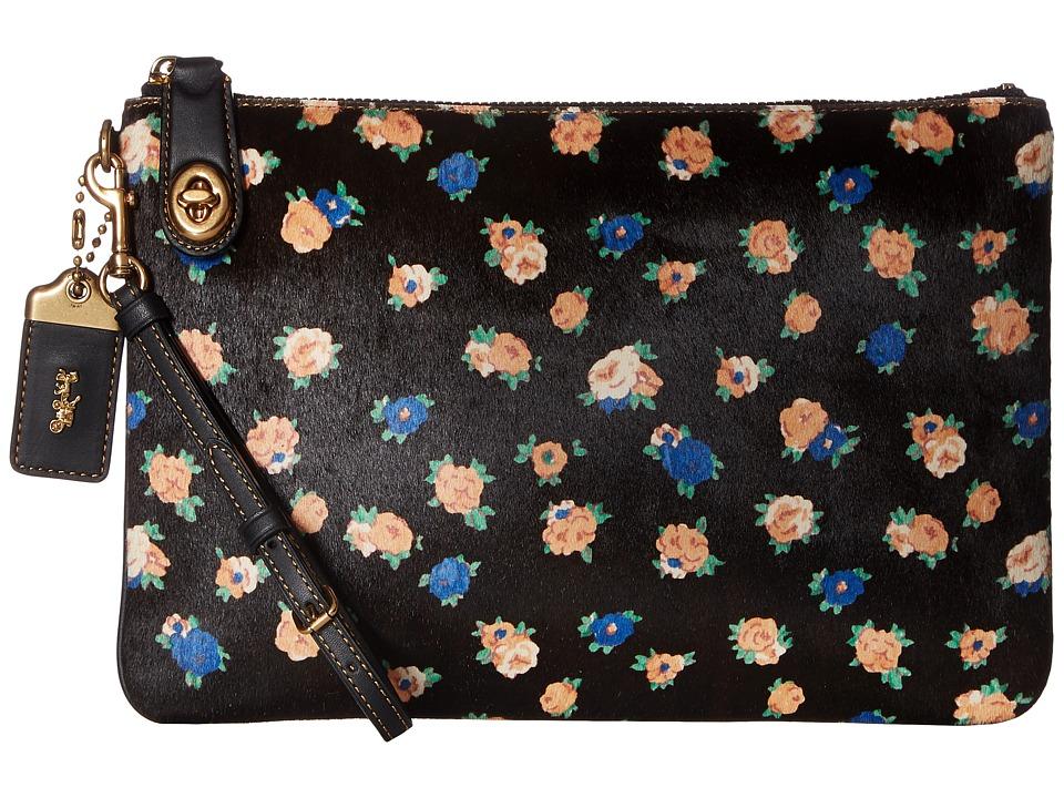COACH - Haircalf Medium Folio (Black/Black) Handbags