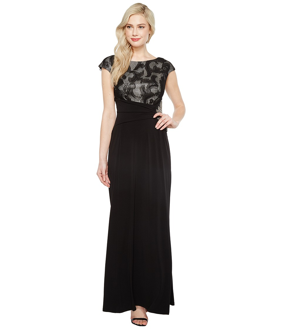 Sangria Cap Sleeve Gown w/ Waist Broche (Black/Nude) Women