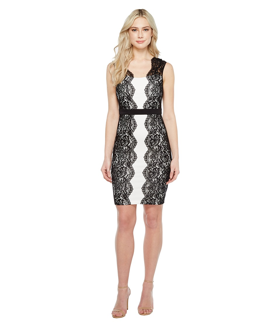Sangria - Cap Sleeve Sheath w/ Side Lace Detail (Black/Ivory) Women's Dress