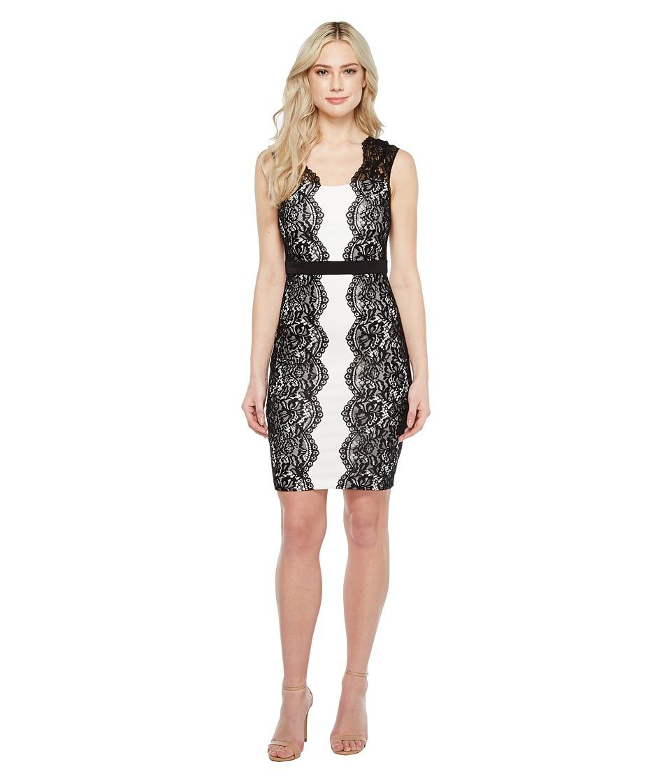Sangria - Cap Sleeve Sheath w/ Side Lace Detail (Black/Ivory) Women's Dress