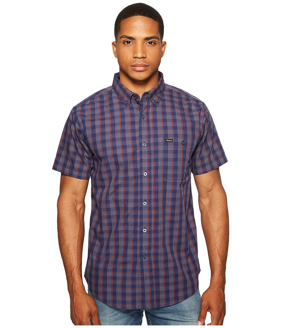 Brixton - Howl Short Sleeve Woven Shirt (Navy/Red/White) Men's Short Sleeve Button Up
