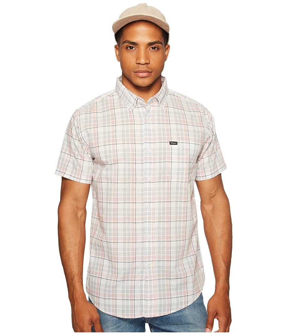 Brixton - Howl Short Sleeve Woven Shirt (White/Black/Red) Men's Short Sleeve Button Up