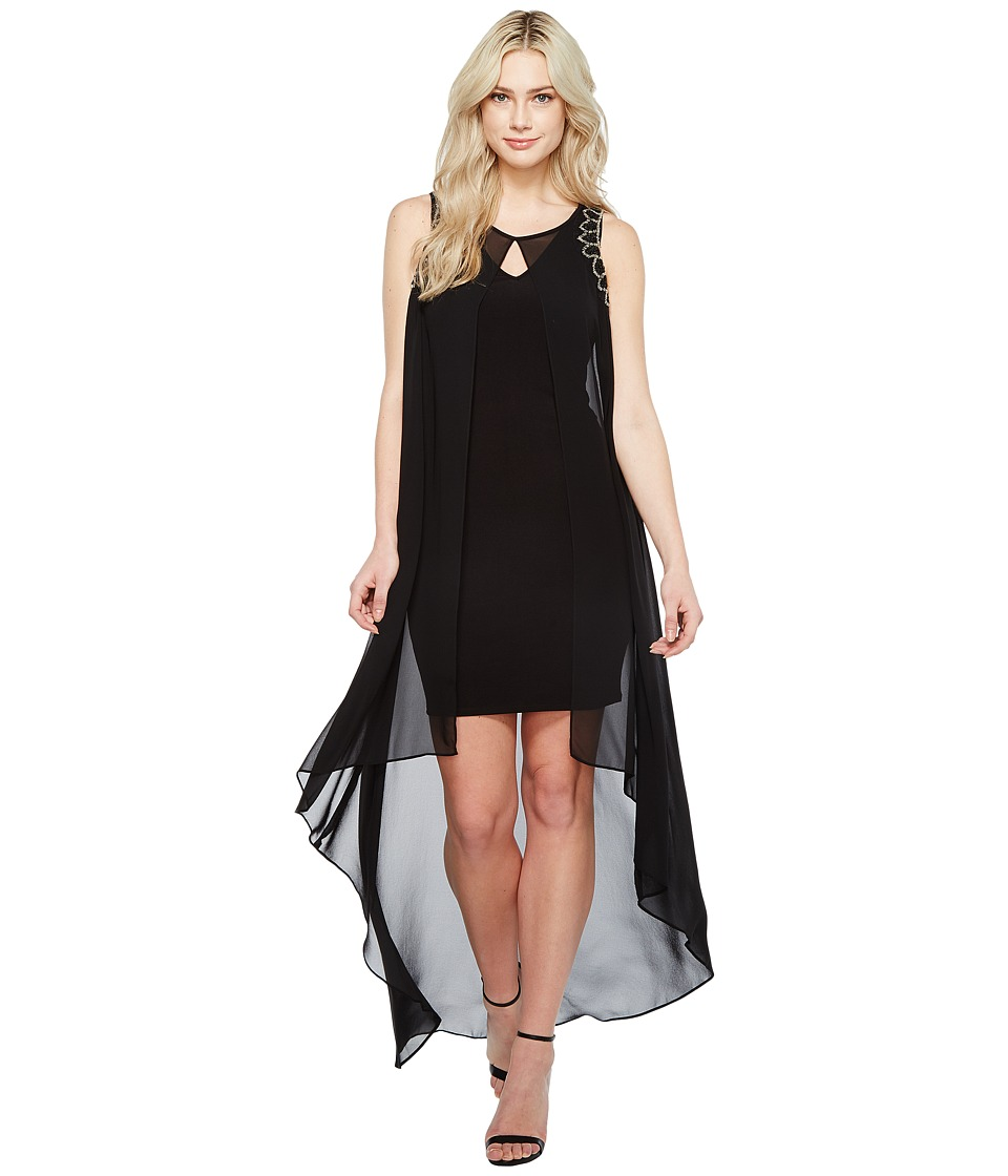 Sangria - Sleeveless Maxi Dress w/ Shoulder Beading (Black) Women's Dress