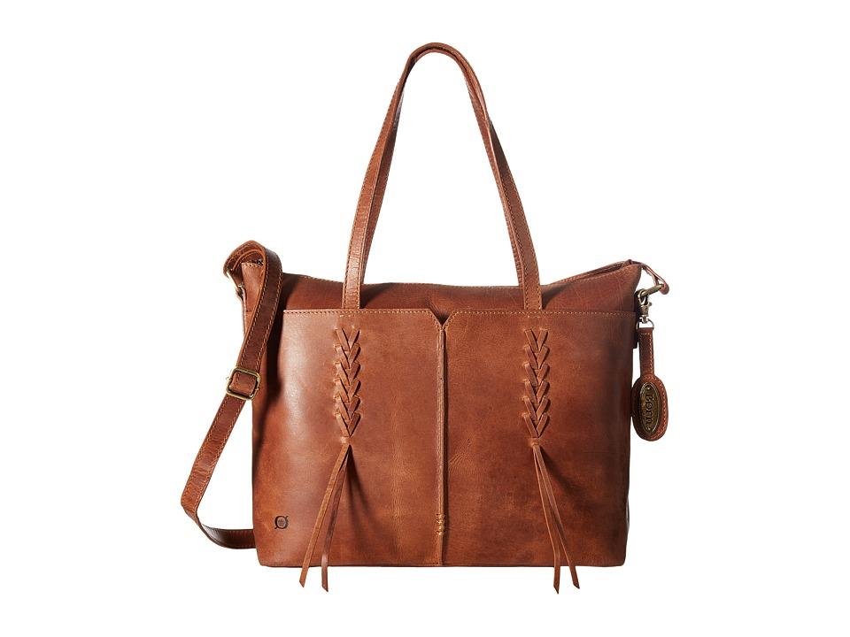 Born - Distressed Leather Tote (Saddle) Tote Handbags