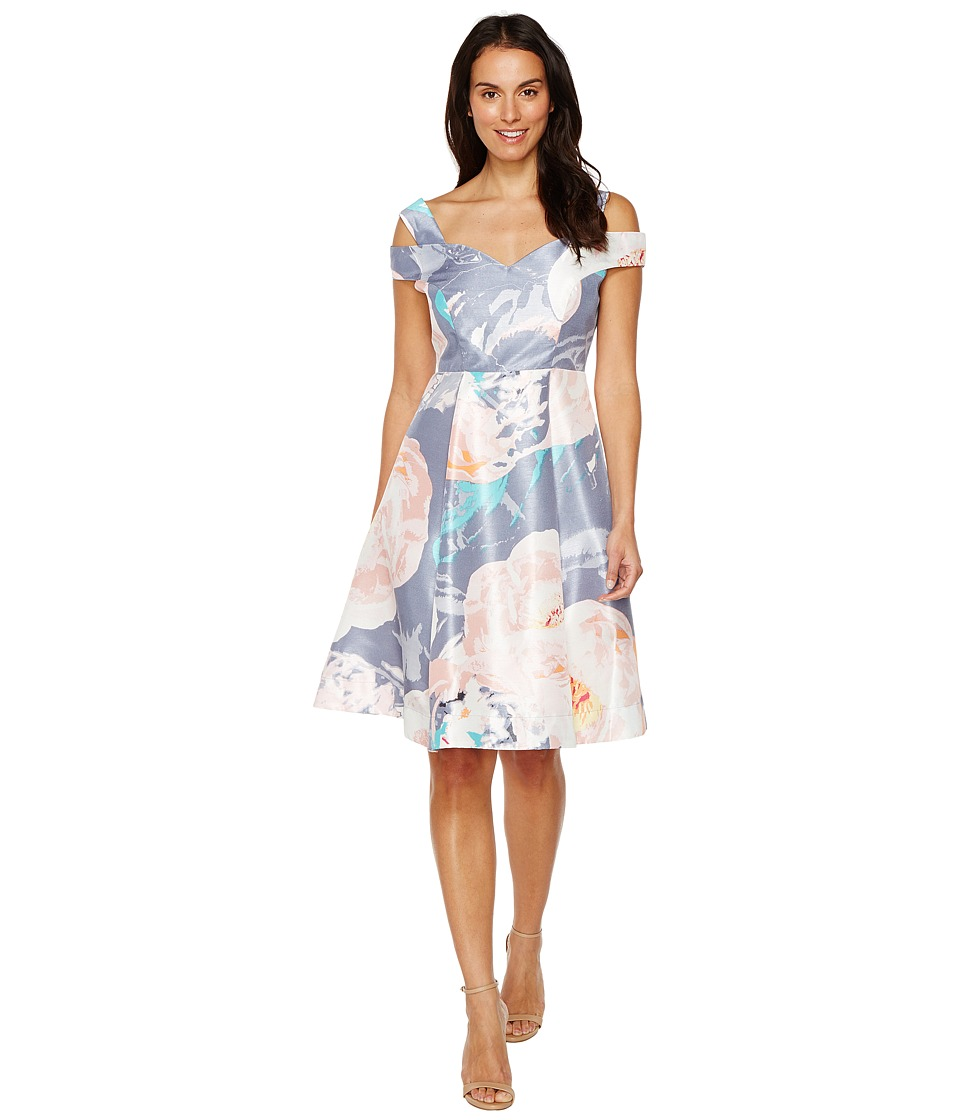 Sangria - Cold Shoulder Floral A-Line Dress (Multi) Women's Dress