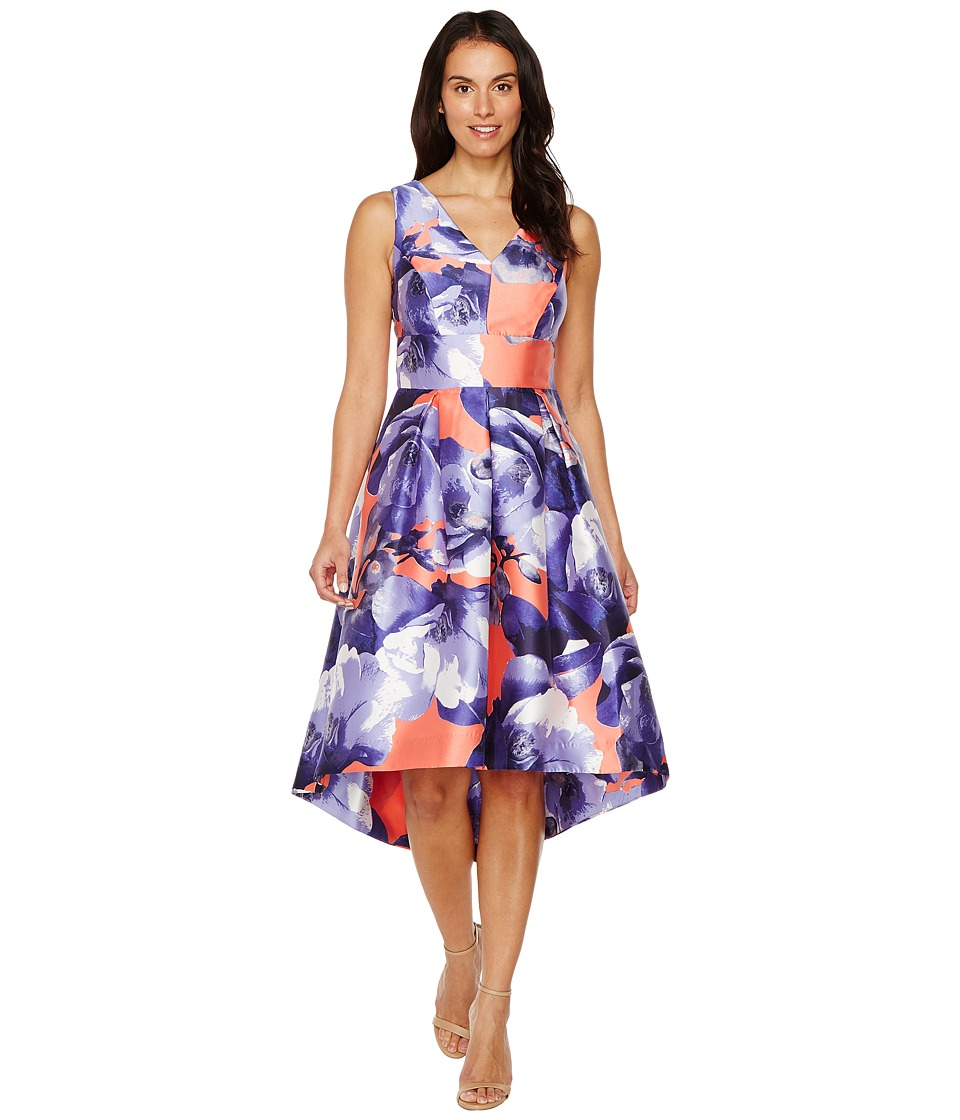 Sangria - Sleeveless Floral Fit Flare (Coral Reef) Women's Dress