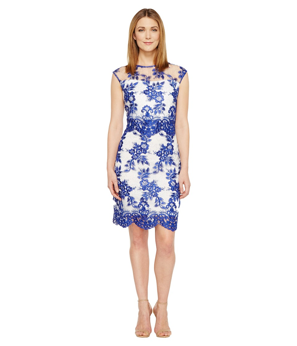 Sangria - Cap Sleeve Embroidered Lace Dress (Cobalt/Ivory) Women's Dress