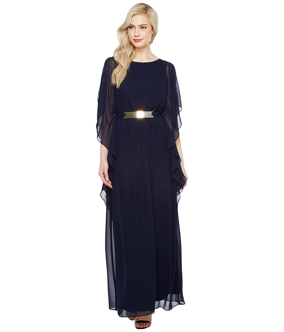 Sangria - Sleeveless Chiffon Gown w/ Gold Belt Detail (Dusk) Women's Dress