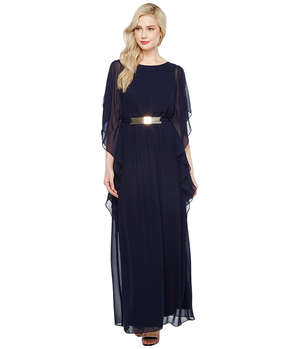 Sangria - Sleeveless Chiffon Gown w/ Gold Belt Detail (Dusk) Women's Dress
