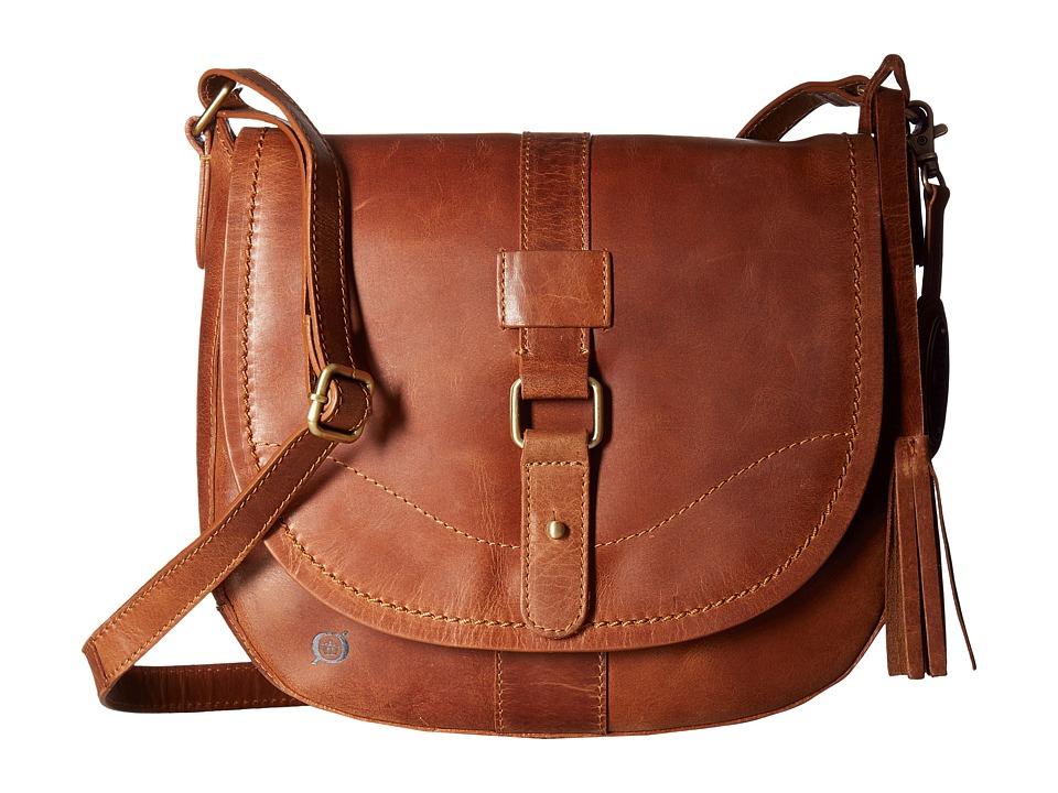 Born - Distressed Leather Saddle Bag (Dove) Handbags