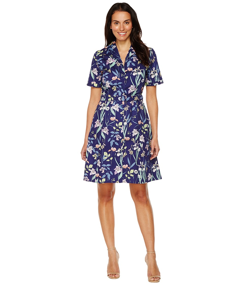 Sangria - Short Sleeve Floral A-Line Shirtdress (Navy/Multi) Women's Dress